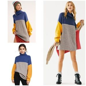 Free People Softly Structured Colorblock Sweater M